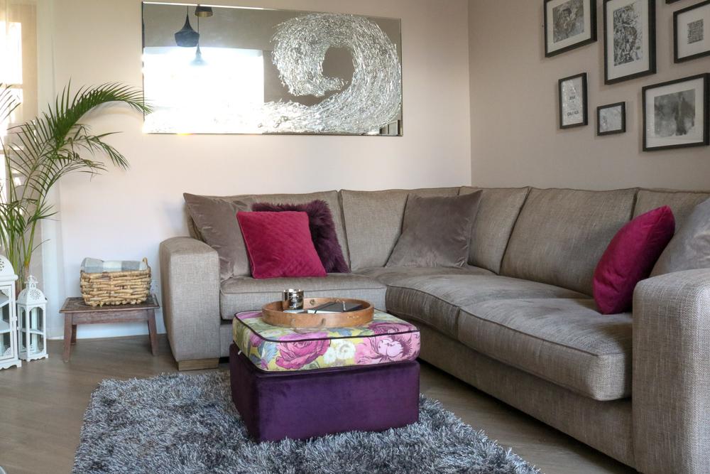 living room interior design with statement footstool