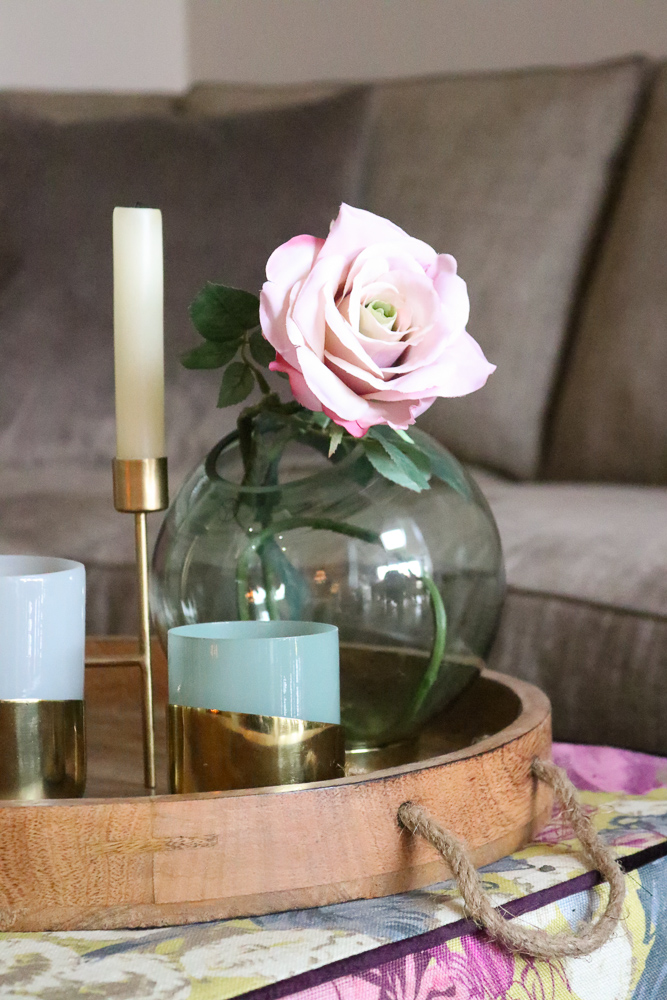 spring interior styling with faux flowers