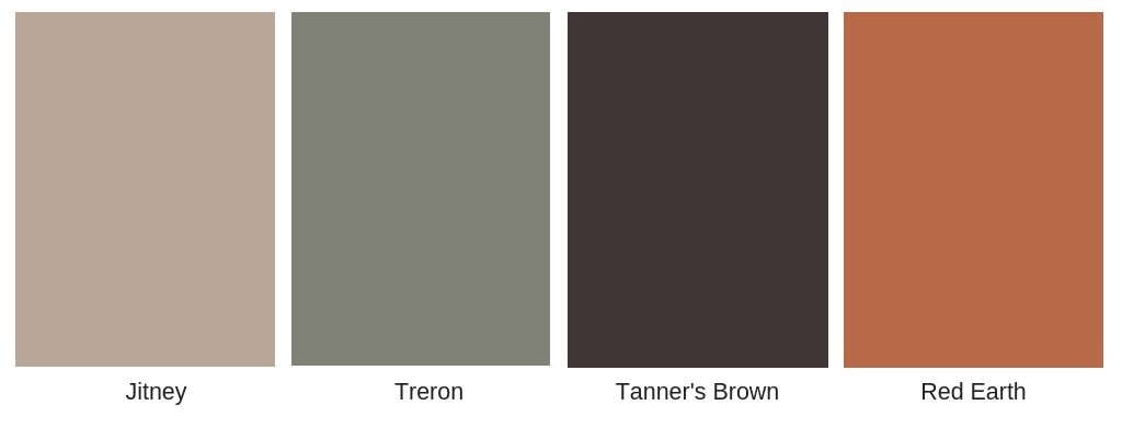 farrow and ball Theron, Jitney, Tanners brown and red earth. Autumn colour scheme