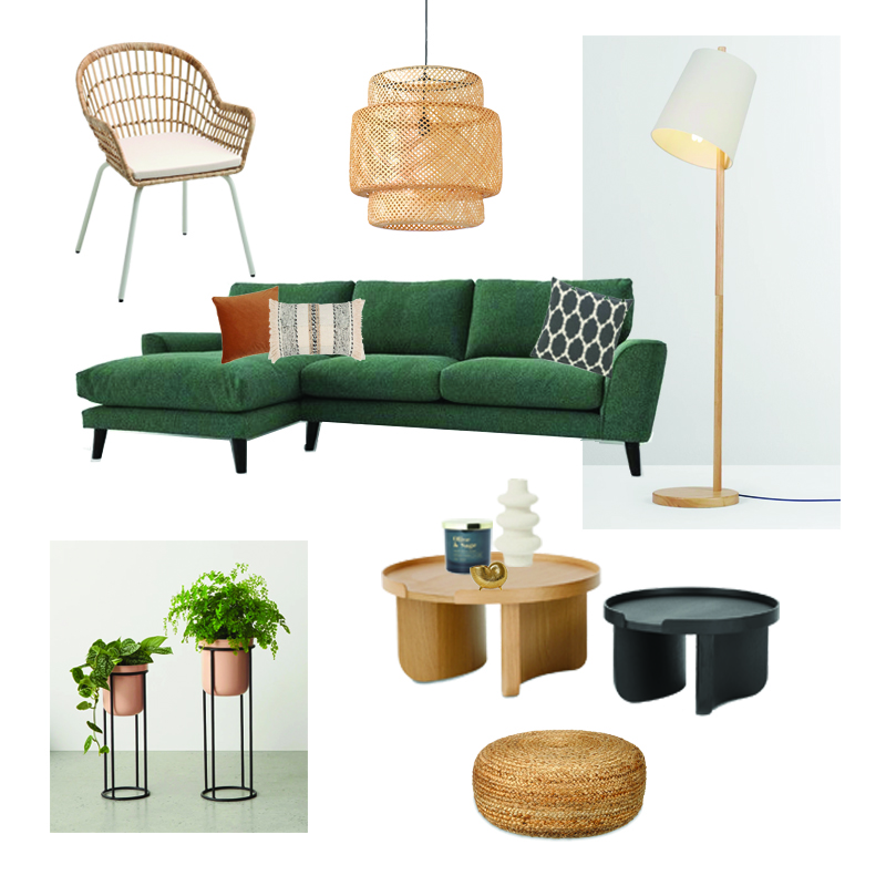 interior designer Liverpool, interior designer Manchester, interior designer Cheshire, design with personality, Natalie holden interiors, help sourcing furniture, travel inspired, green sofa, corner sofa, modern sofa, rattan lighting, tiered planter, rattan chair, round coffee table