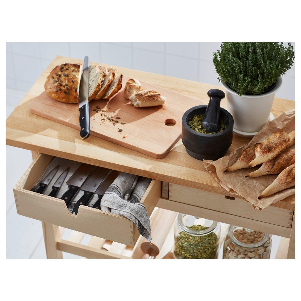 Ikea FÖRHÖJA Birch Kitchen Bench with wheels, multifunctional living, interior design, interior designer, north west interior designer