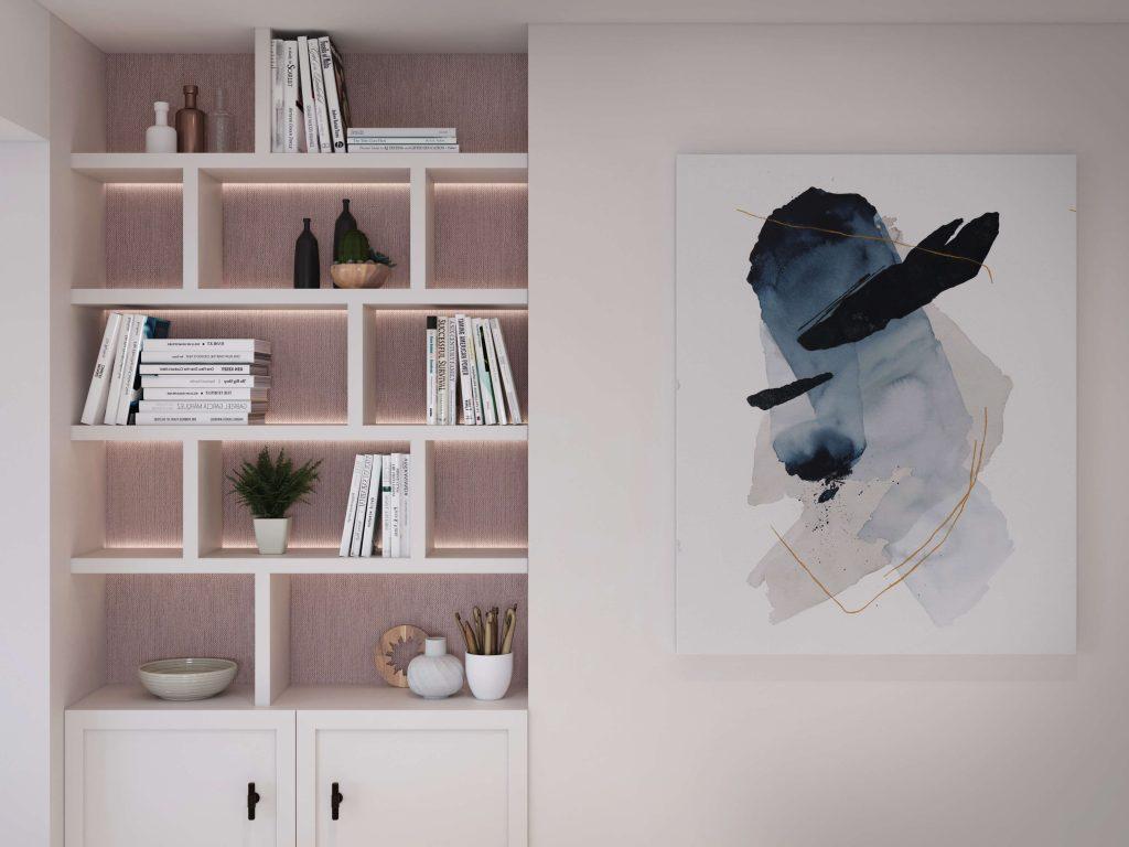 Bespoke shelving designed by Natalie Holden Interiors