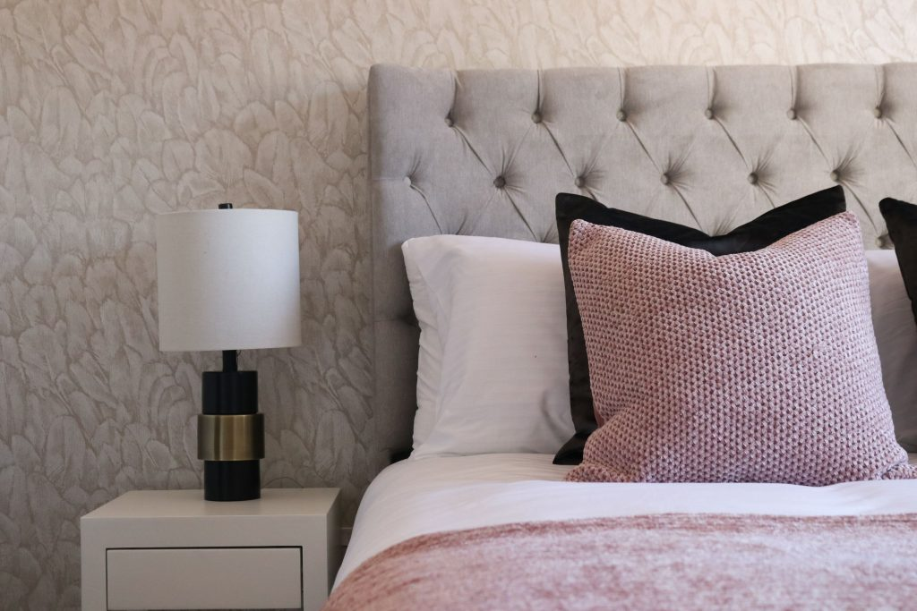 Textured wallpaper example designed by Natalie Holden Interiors